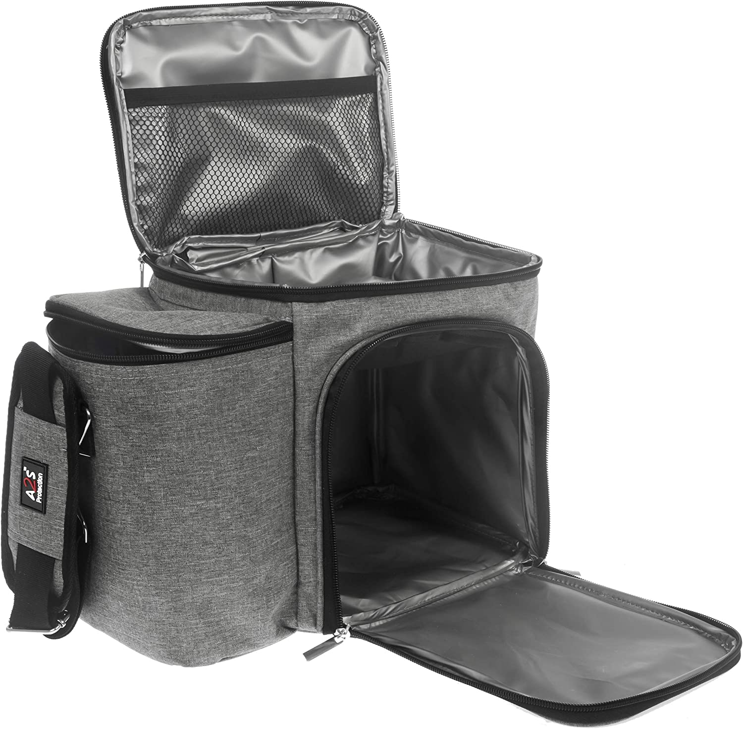 A2S Meal Prep Lunch Box - Cooler Bag - Meal Bag - Keep your Daily Food Snacks & Beverages Cool and Intact (Gray Bag Only)