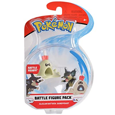"Pokemon 2 Inch Battle Action Figure 2-Pack, includes 2"" Alolan Rattata and 2"" Sandygast: Toys & Games"