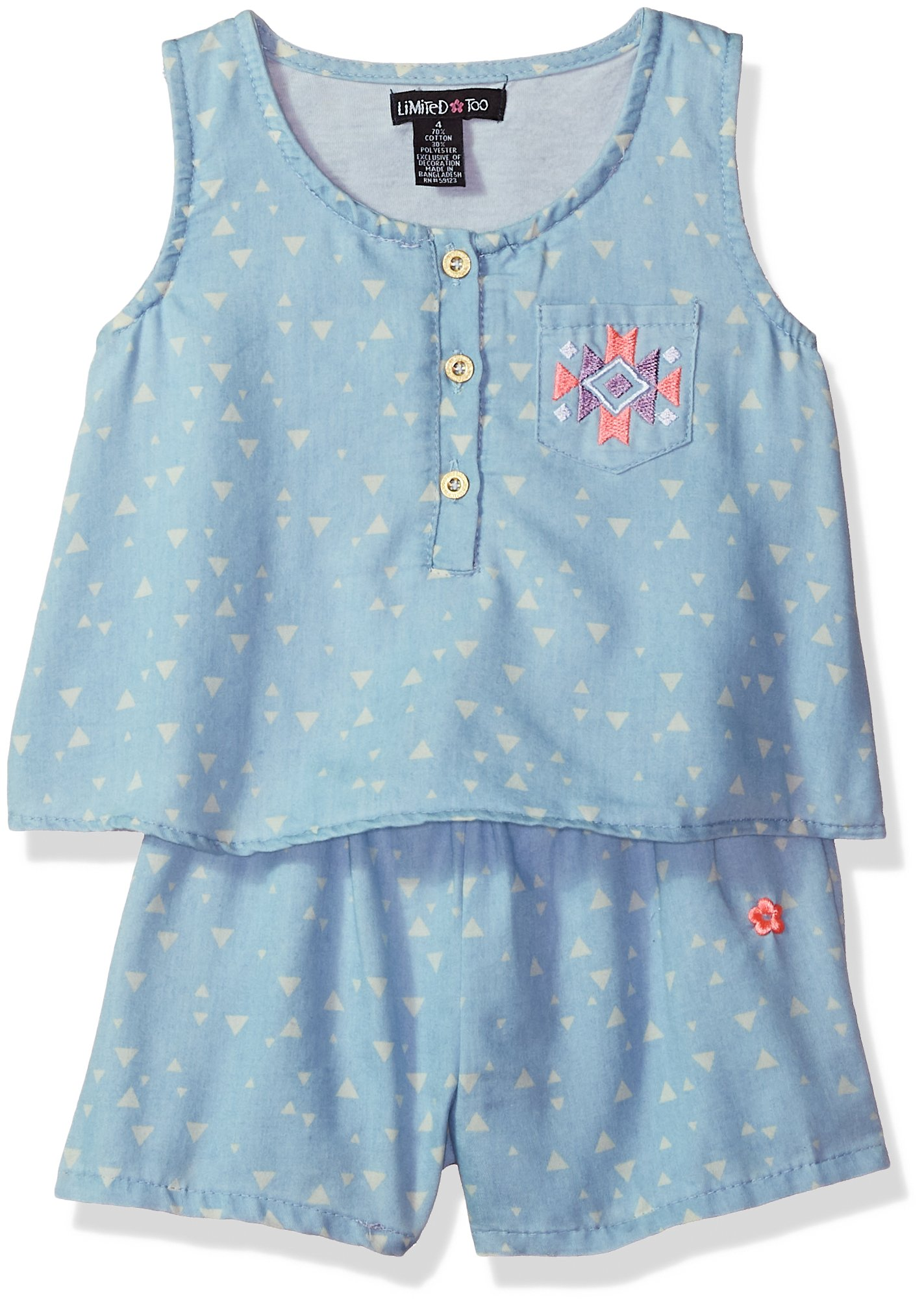 Limited Too Girls' Toddler Romper, Aztec Triangles Light Blue Denim, 2T