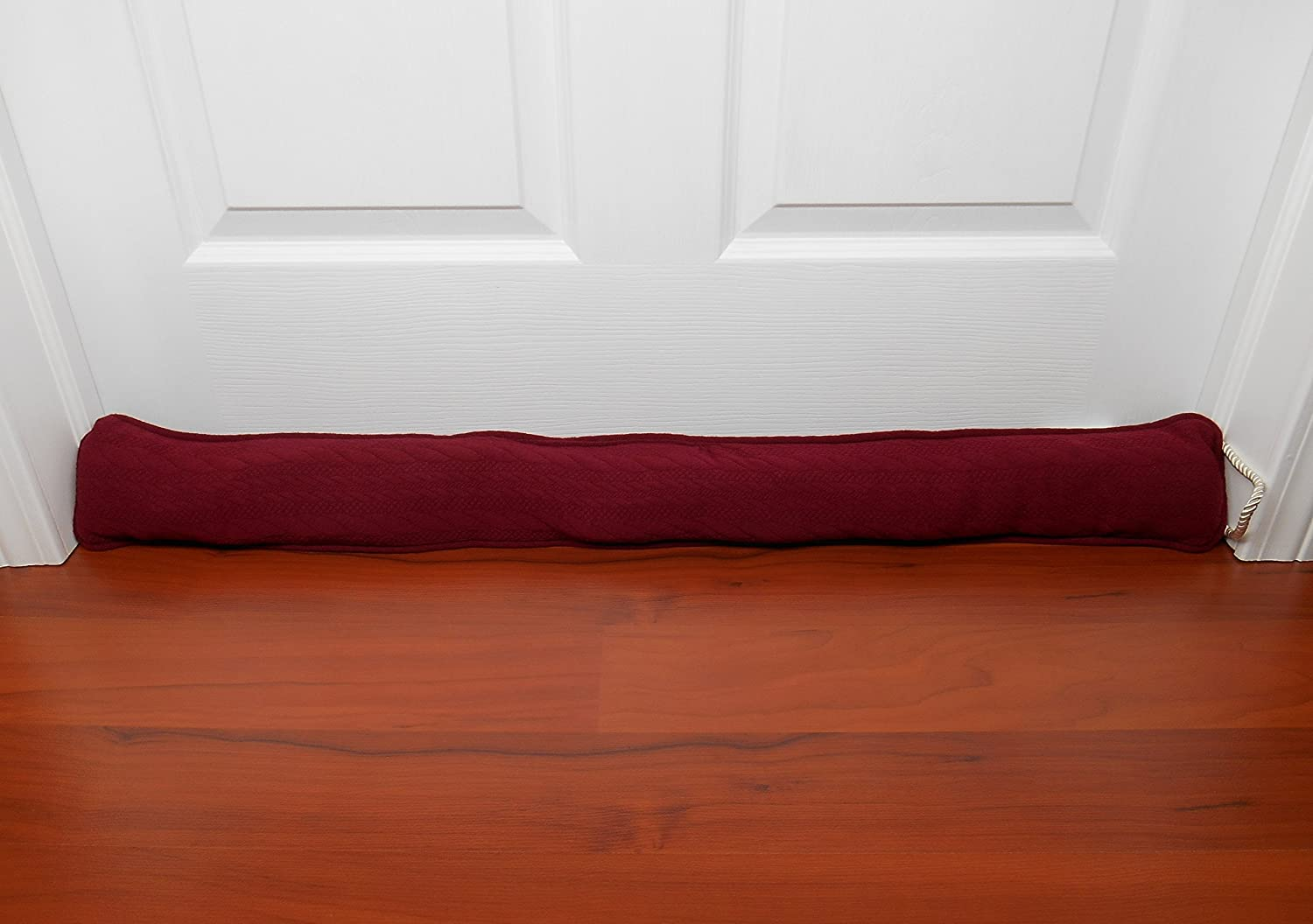 Fits 36 Doors Pujiang Fairy Home Textiles Soft Fleece Burgundy Cable Knit Sweater Style Door Draft Blocker