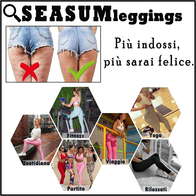 SEASUM Femme Leggings Anticellulite Pantalon de Sports Yoga Push Up Compression