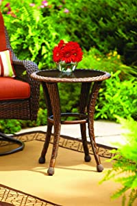 "Better Homes and Gardens Azalea Ridge 20"" Wicker Round Outdoor Side Table 24""h X 19.75""d Steel Frame Glass Top"