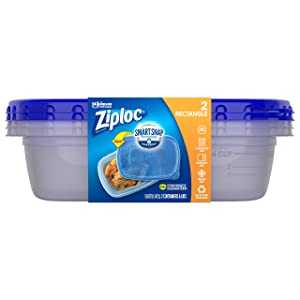 Ziploc Food Storage Meal Prep Containers with Smart Snap Technology, Dishwasher Safe, Rectangle, 2 Count, Packaging May Vary