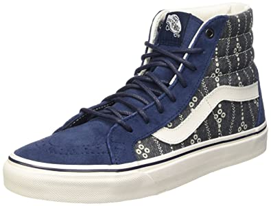 11ac9b67a7bf Vans Sk8-Hi Reissue Indigo Mood Blanc De Ankle-High Fabric Fashion Sneaker