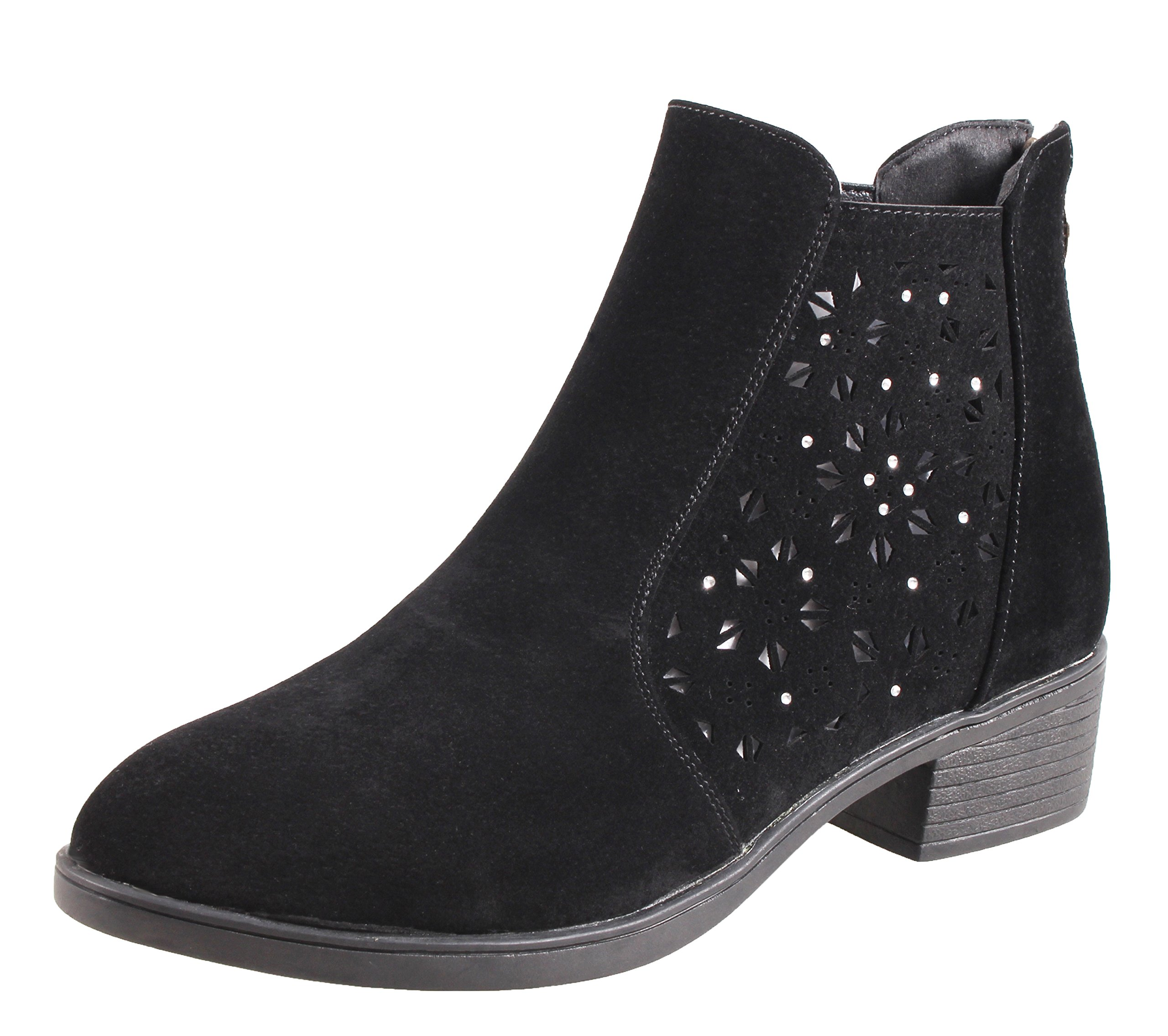 QHamThim Girl's Suede Ankle Boots Casual Outdoor Low Heel Closed Toe Bootie