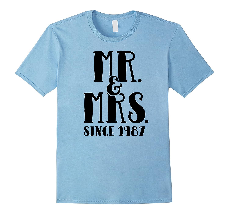 30th Anniversary Gift T Shirt Since 1987 Mr & Mrs Tee-FL