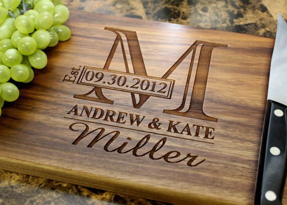 Personalized Engraved Cutting Board Wedding by StragaCuttingBo​ards