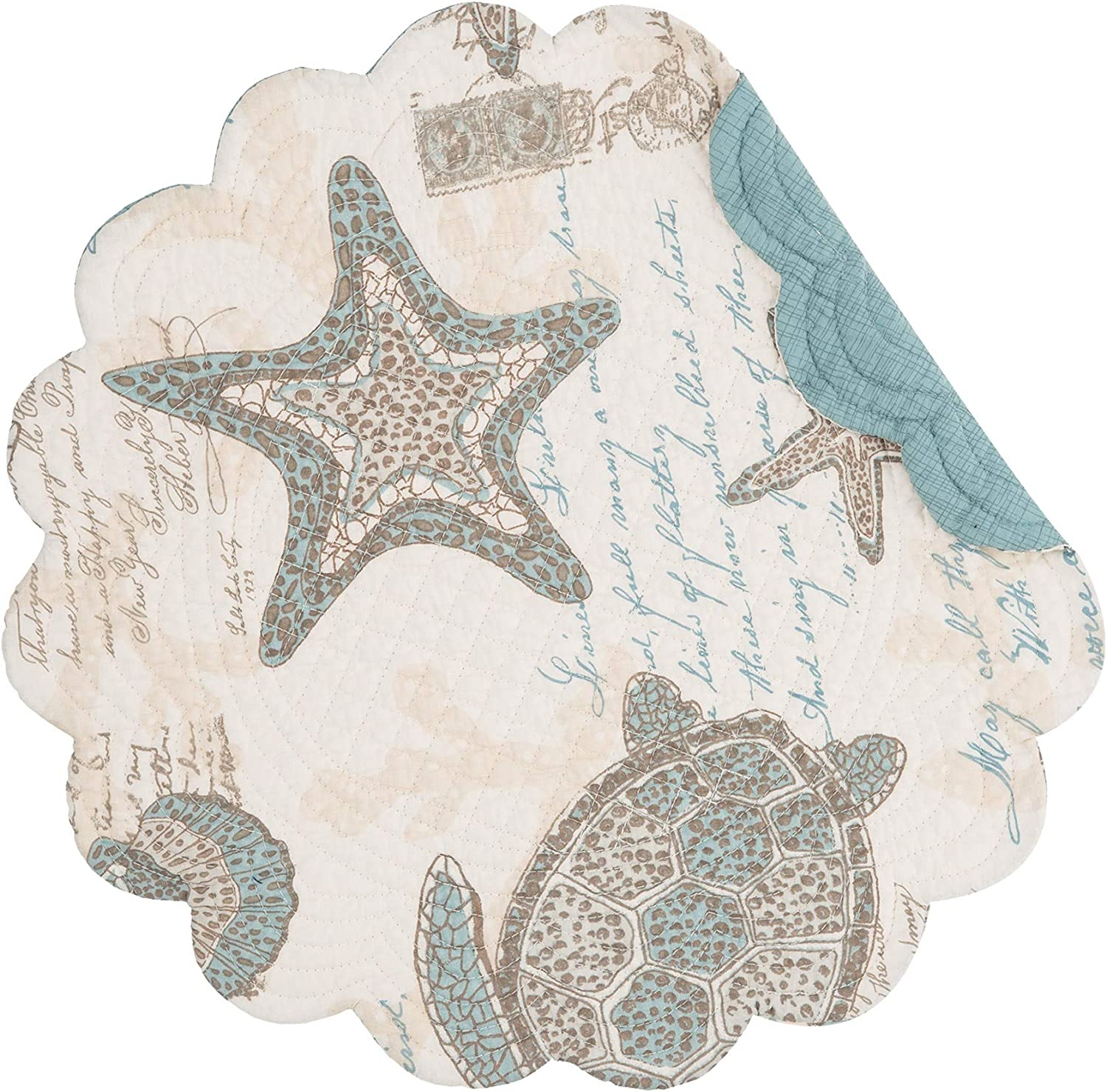 C&F Home Amber Sands Round Placemat Reversible Cotton Nautical Coastal Sea Life Beach Table Mat for Kitchen Dining Table Round Placemat