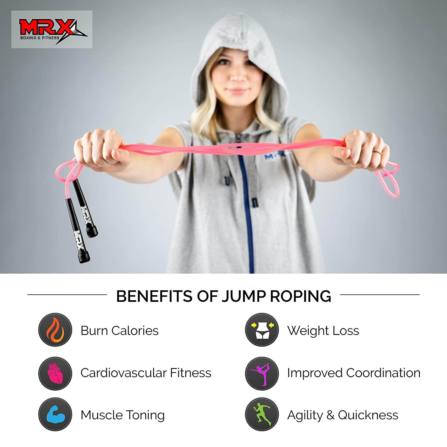 MRX 9 PVC Jump Rope for Cardio Fitness Great Jump Rope for Exercise Versatile Jump Rope for Both Kids and Adults