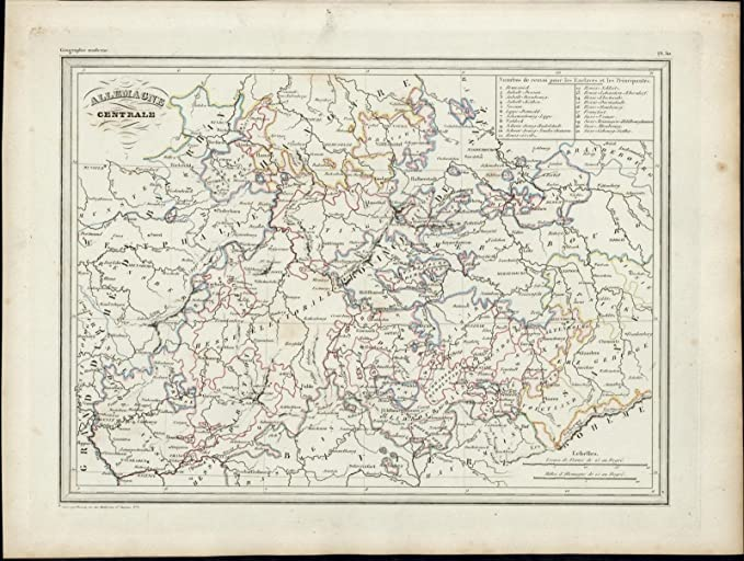 Map Of Central Germany.Central Germany Bavaria Westphalia Hanover 1846 Uncommon Antique