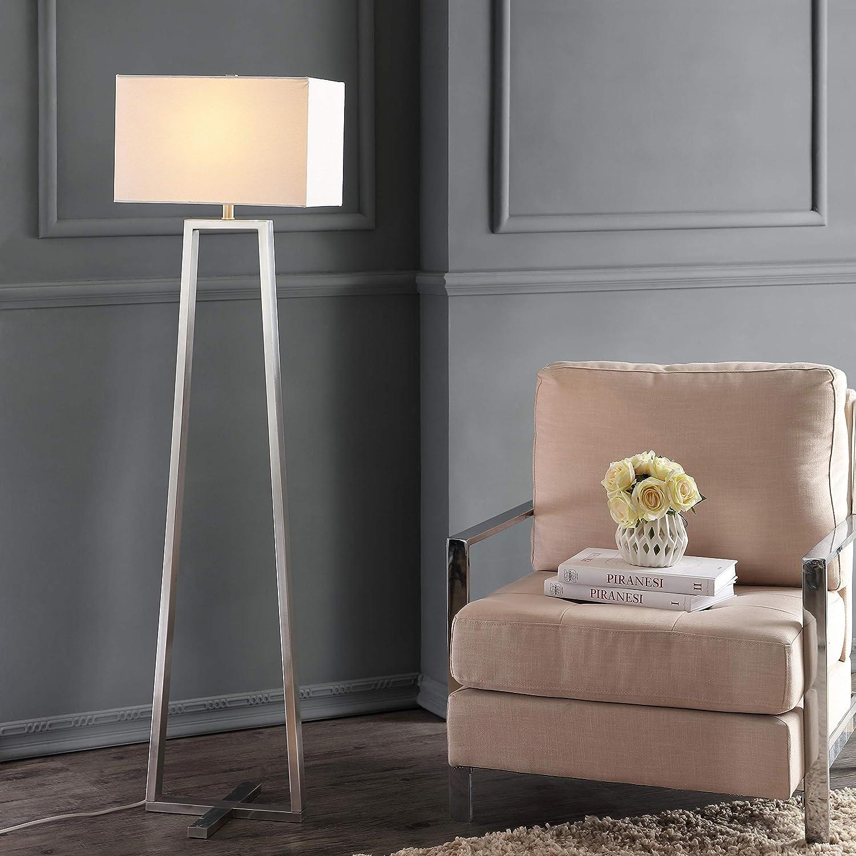 Amazon Com Safavieh Lighting Collection Lyell Nickle 60 Inch Floor Lamp Home Kitchen