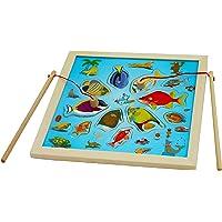 Toys of Wood Oxford Jeu de pêche magnétique - Jouet de pêche en bois avec 11 pièces Poisson-jouet tropical - Puzzle magnétique pour enfants