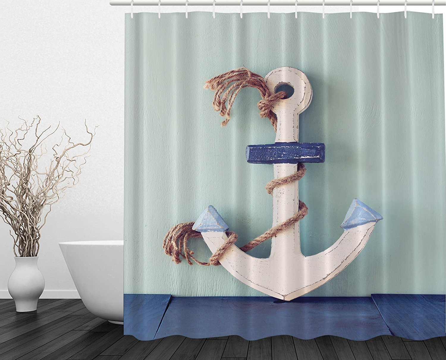 Making nautical bathroom d 233 cor by yourself bathroom designs ideas - Amazon Com Anchor Decor Wooden White Rusty Marine Boating Anchor And Rope Nautical Coastal Home Decor Bathroom Decorating Set Modern Exclusive Designer