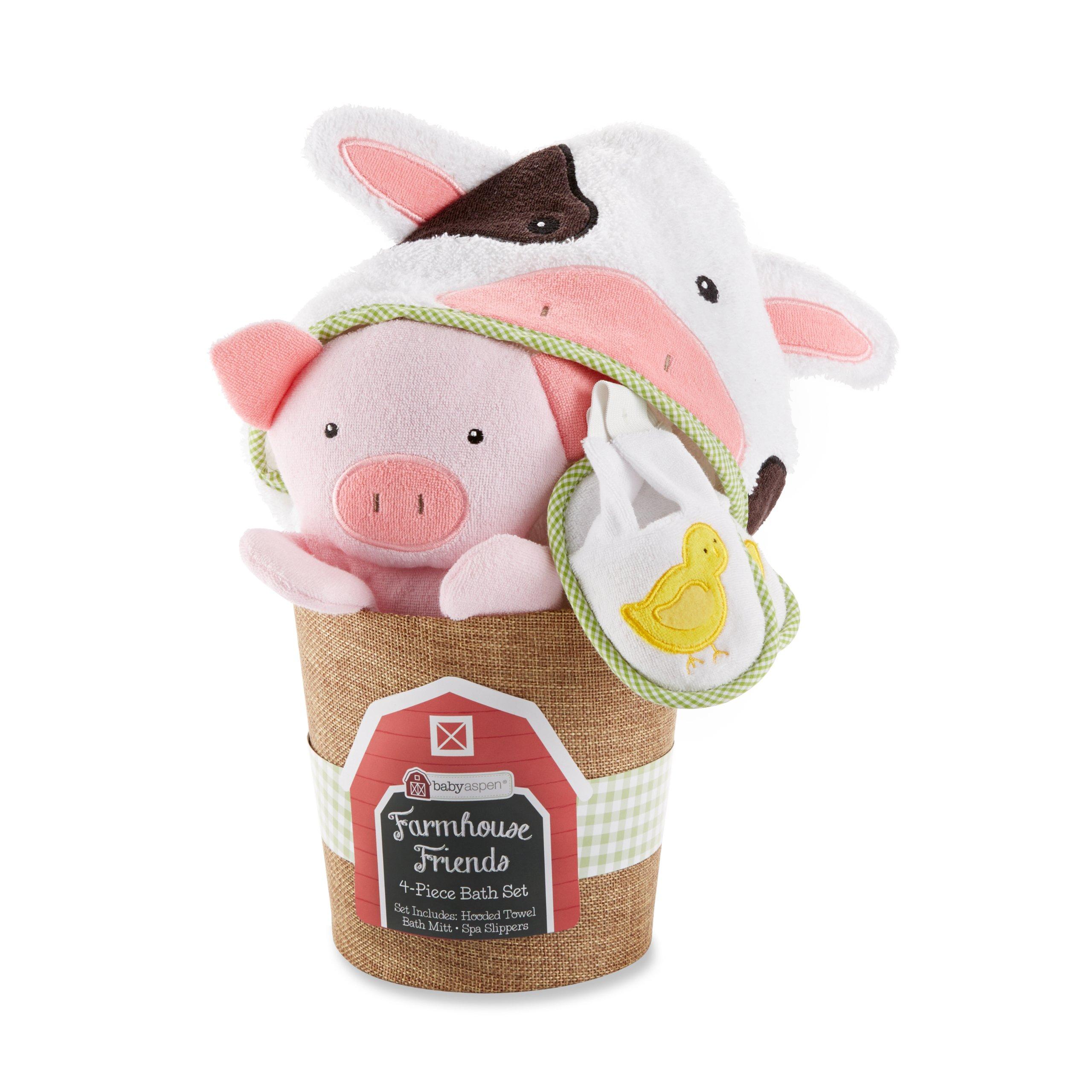 Baby Aspen, Farmhouse Friends 4-Piece Bathtime Bucket, 0-6 Months by Baby Aspen
