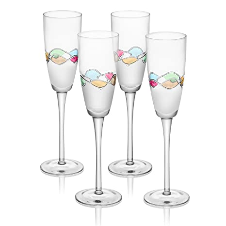 amazon com trinkware set of 4 champagne flutes with hand painted