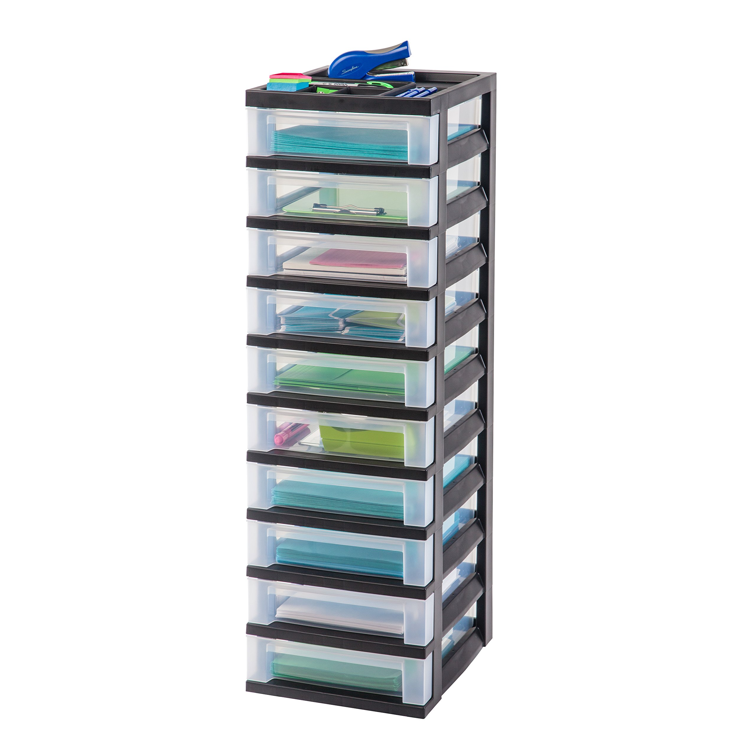 IRIS 10-Drawer Storage Cart with Organizer Top, Black