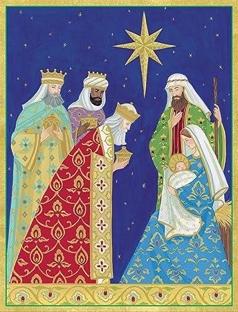 Bilder Krippe Weihnachten.Caspari Mit Krippe Weihnachten Cards Box 16 Stück Amazon De