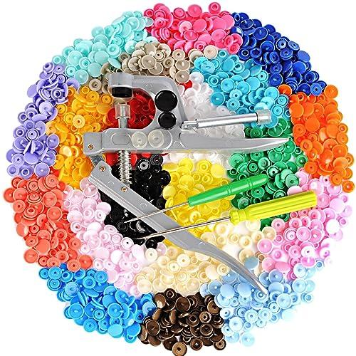 [LIHAO Pressions + kit de Pince] 300pcs Boutons Pressions Plastiques T5 12mm Pressions Multicolores 20 Coloris + Lot de Pince en Métal