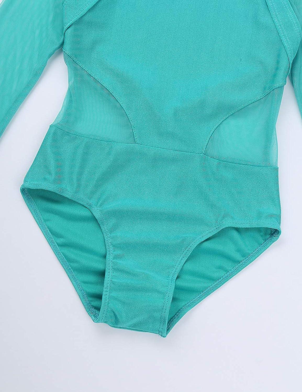 CHICTRY Girls Elegant Mesh Square Neck Gymnastics Ballet Leotard Long Sleeve Dance Sports Bodysuit Tops