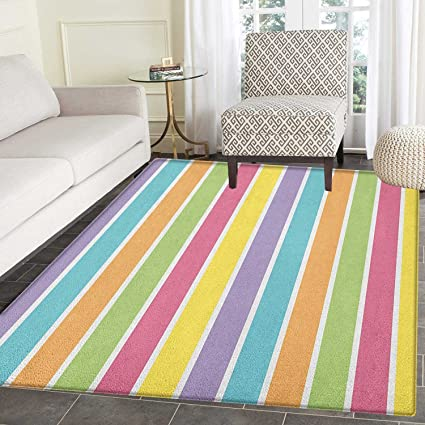 Colorful Print Area Rug Pastel Colored Striped Summer Pattern Funky  Cheerful Rainbow Inspired Traditional Indoor/