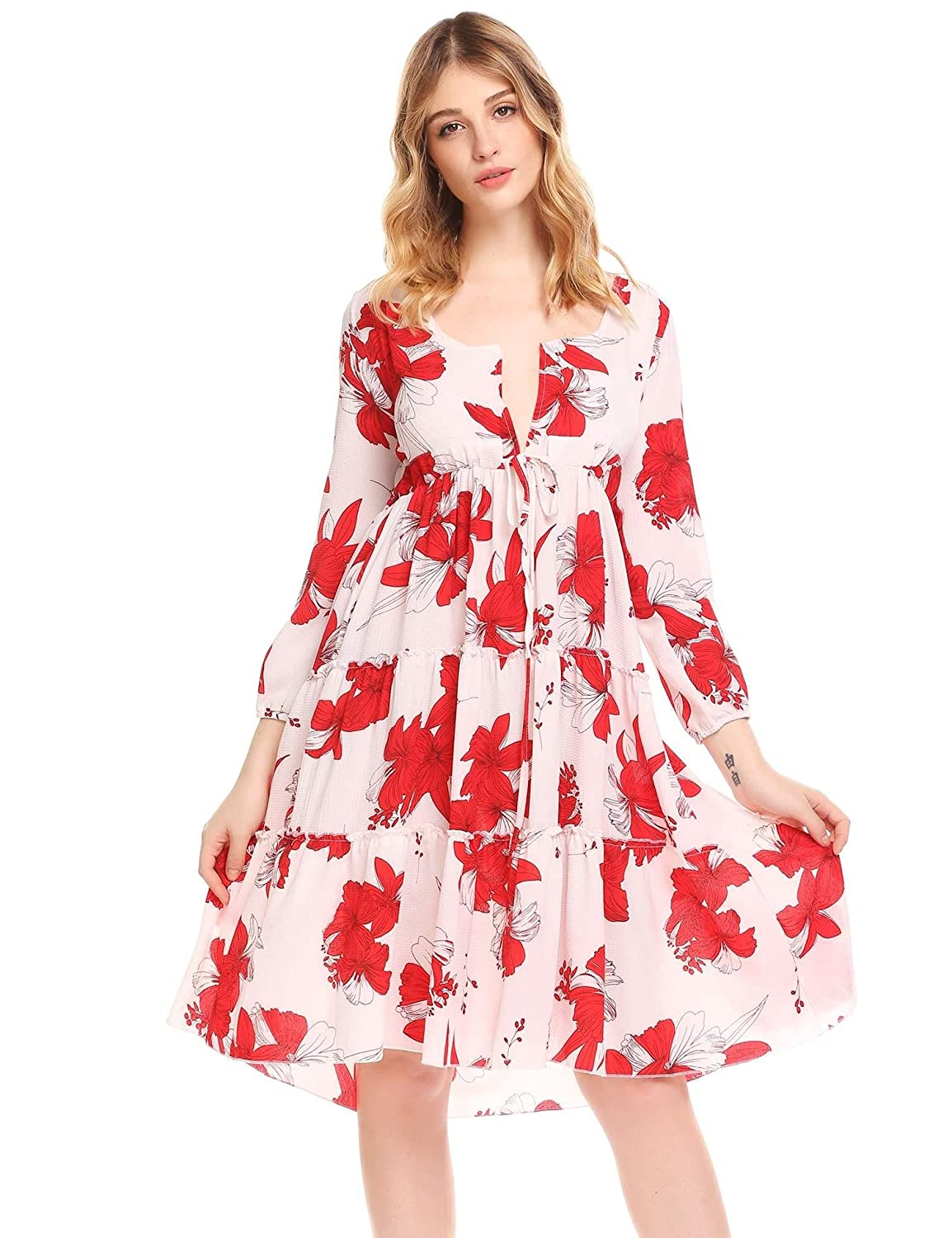 9fefc378c8c Ruffled surplice V neckline adds chic factor to the skater dress. 3 4  sleeve. Fully lined. Above knee length shows off your legs while still  being elegant.