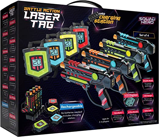 Rechargeable Laser Tag Set + Innovative LCDs and Sync – Pack of 4 Infrared Guns & Vests