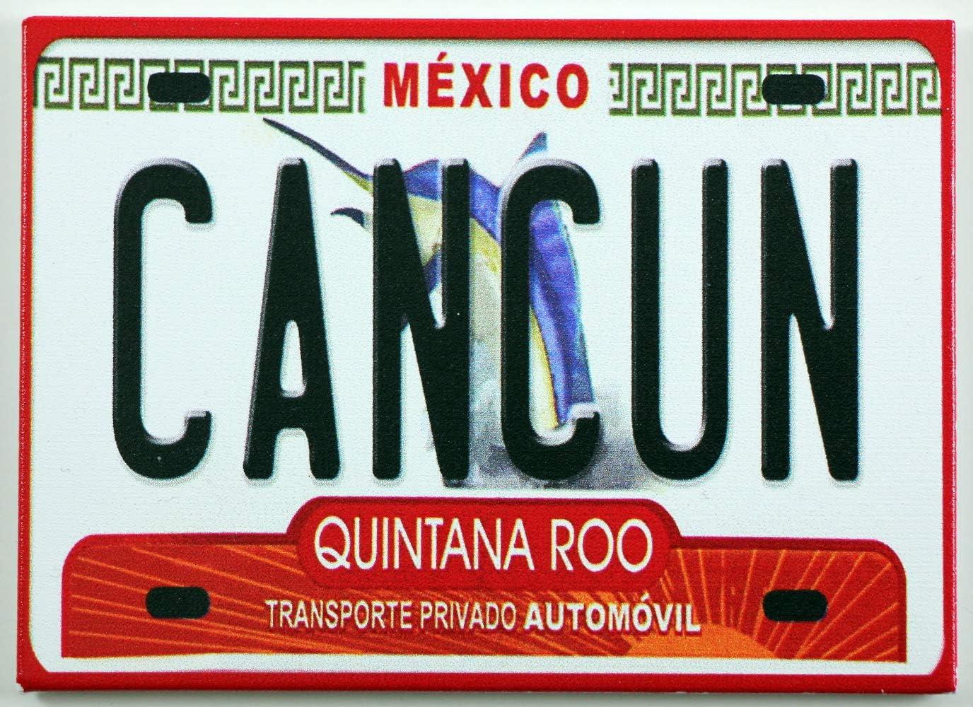 "World By Shotglass Cancun Mexico License Plate Fridge Collector's Souvenir Magnet 2.5"" X 3.5"""