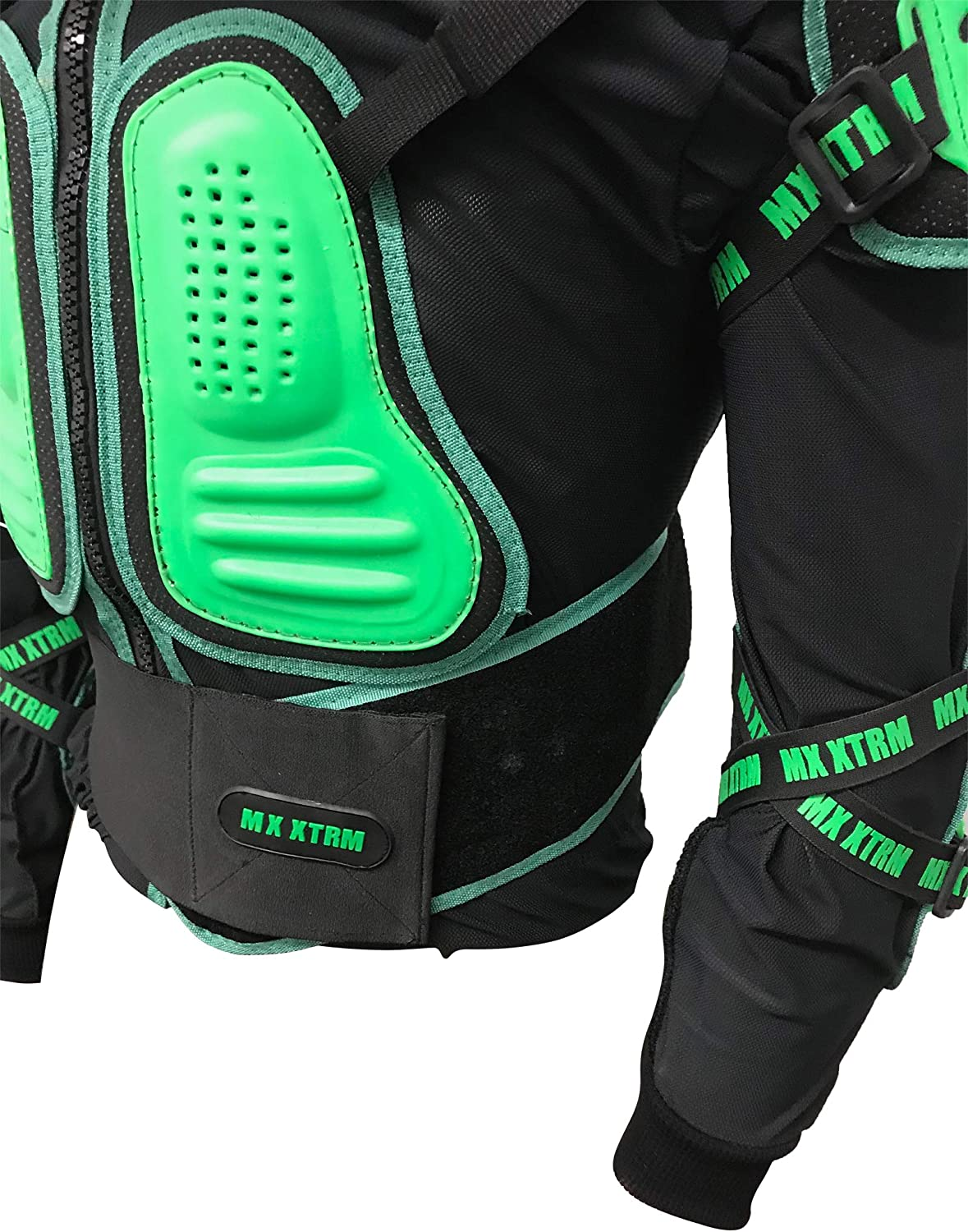 XTRM EDGE MX MOTOCYCLE KIDS BODY ARMOUR Motorbike Child BMX Quad ATV Off Road Sports CE Approve Full Body Deflector BLACK//GREEN