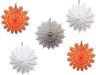 "product image for Devra Party 5-Piece Multi-Colored 19"" Tissue Paper Snowflake Set (Orange Storm)"