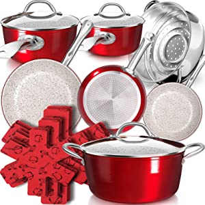 Dealz Frenzy Stone Ultra Non-Stick Pots and Pans Set,16-Piece Marble Coating Induction Cookware Sets,Stainless Steel Handle,Durable,Scratch Resistance,Dishwasher Safe,Oven Safe,Bright Red,Easter Gift