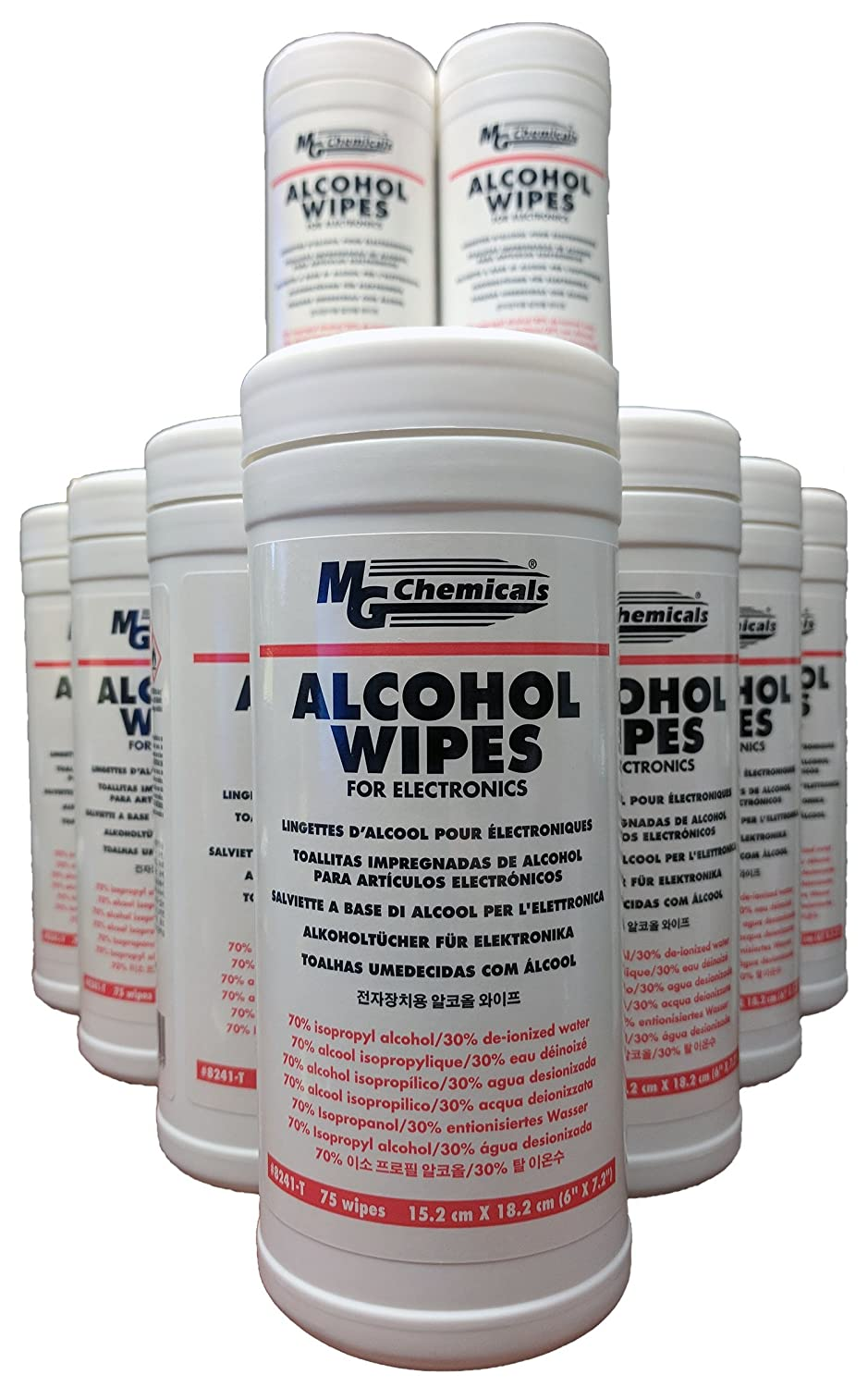 MG Chemicals Alcohol Wipes (70% IPA), 7' x 6' (Tub of 75) 7 x 6 (Tub of 75) 8241-T