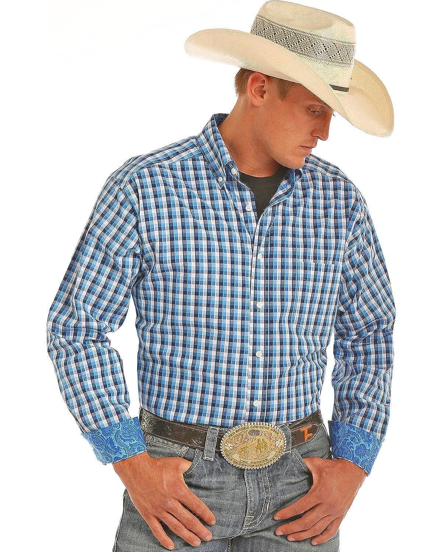 Tuf Cooper Performance Mens Herringbone Plaid Competition Fit Stretch Shirt