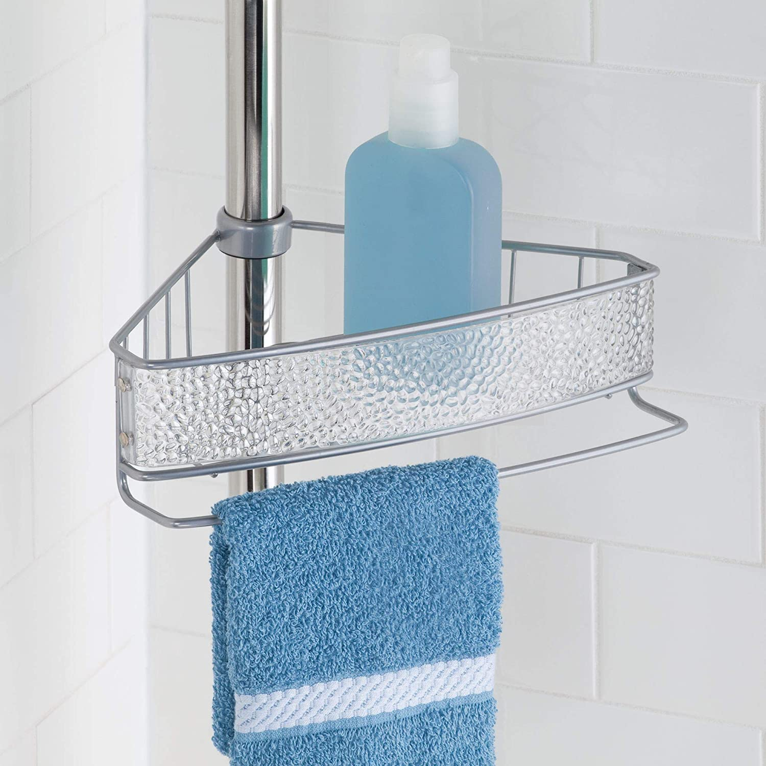 Amazon.com: InterDesign Rain Constant Tension Corner Shower Caddy ...