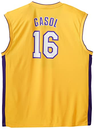 NBA Los Angeles Lakers PAU Gasol Oro réplica de la Camiseta, Hombre, Los Angeles