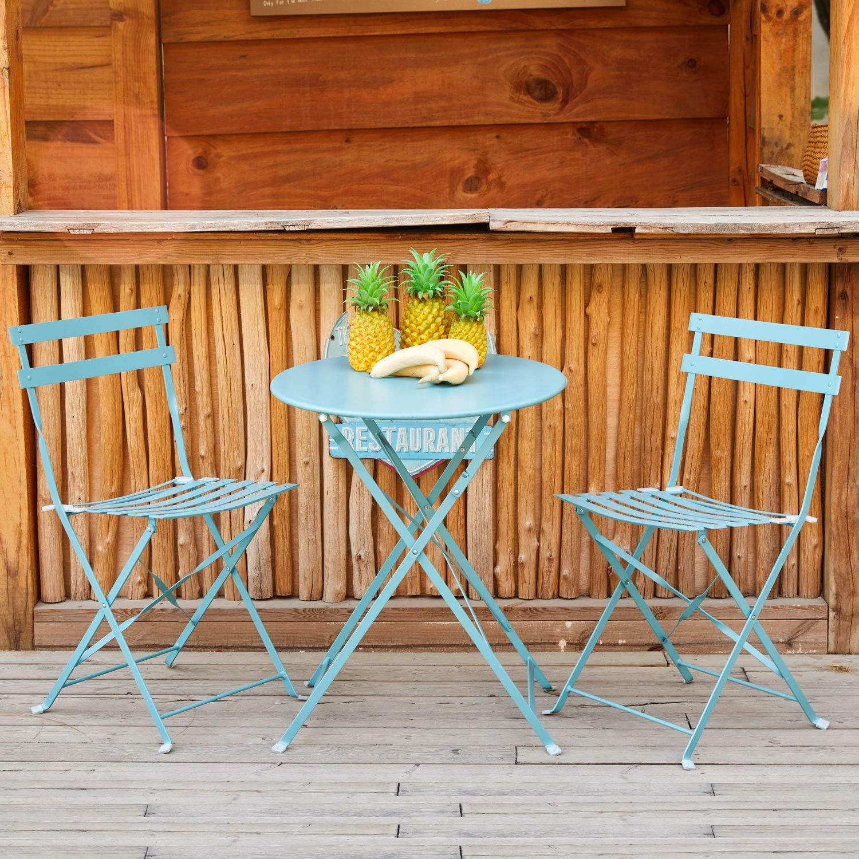 Amagabeli Bistro Conjunto 2 Sillas(H83 x W42 x D38cm) 1 Mesa (H90 x D75cm) Azul Conjunto de Muebles de Jardín Juego de Muebles de balcón Plegables de Metalal Aire Libre Set Azul Claro