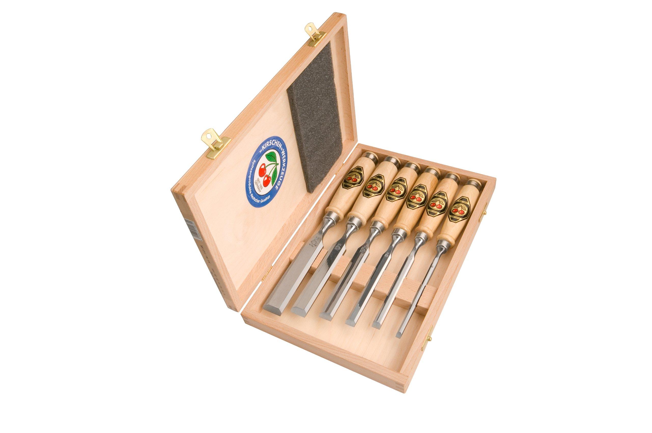 Kirschen 1101000 6-Piece Chisel Set in Wood Box by Kirschen