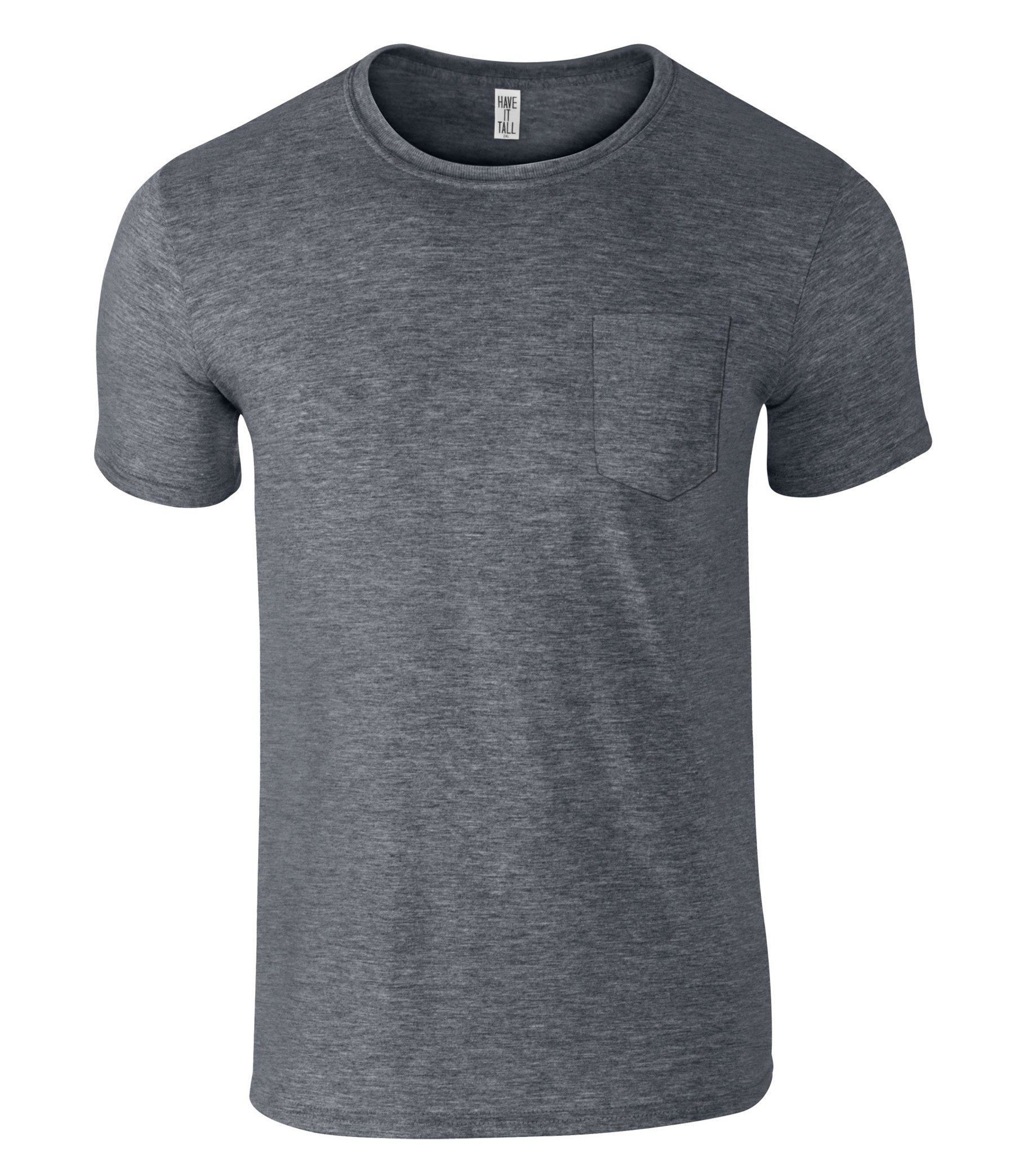 Have It Tall Men's Slim Fashion Fit Pocket T Shirt Heather Charcoal X-Large Tall