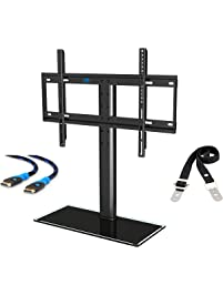 mounting dream md5109 table top tv stand tv mount with antitip strap and