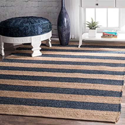 Jute And Denim Even Stripes Natural Area Rugs 5 Feet By 8 Feet 5 X 8