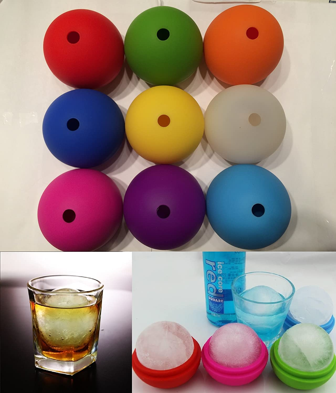 """C-Spin 2.5"""" DIY Whiskey Ice Cube Silicon Ball Maker Mold Sphere/Round Shaped Good for Party (Yellow)"""