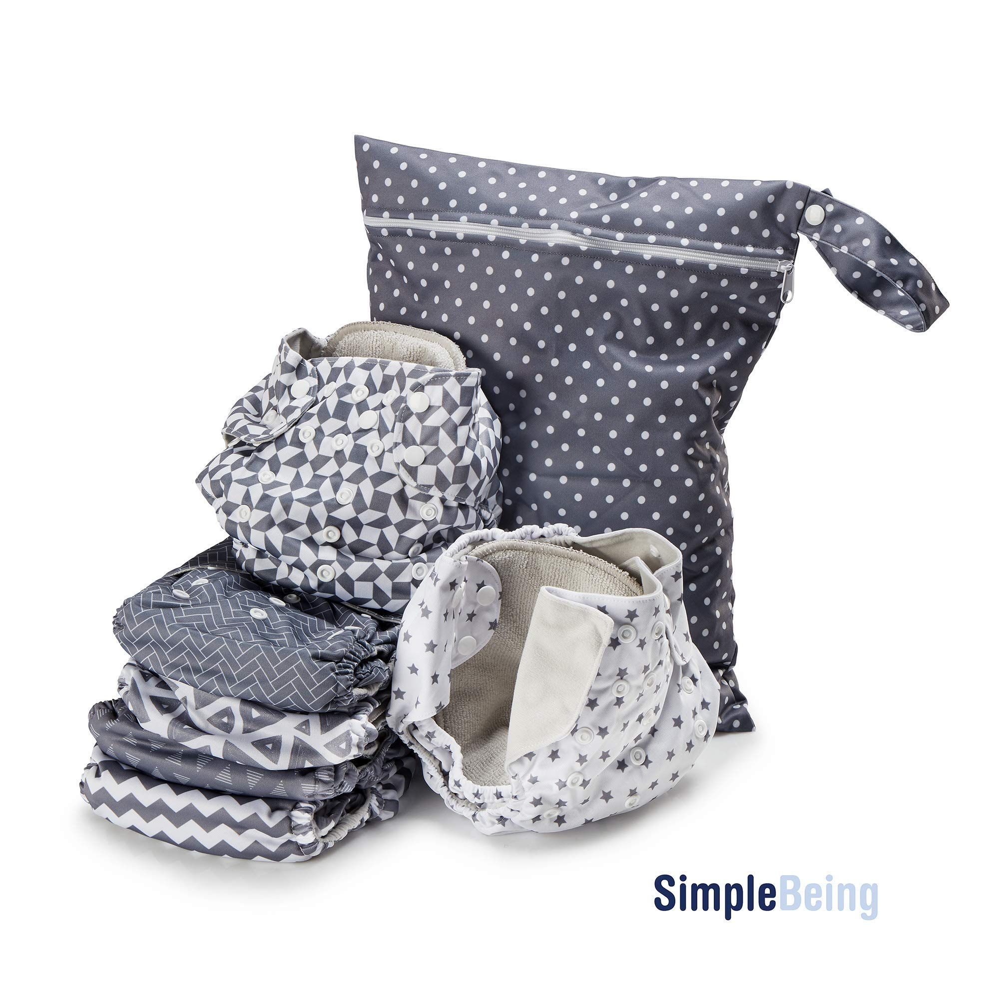Simple Being Reusable Cloth Diapers, Double Gusset, One Size Adjustable, Washable Soft Absorbent, Waterproof Cover, Eco-Friendly Unisex Baby Girl Boy, with six 4-layers microfiber inserts (Geometrics) by Simple Being