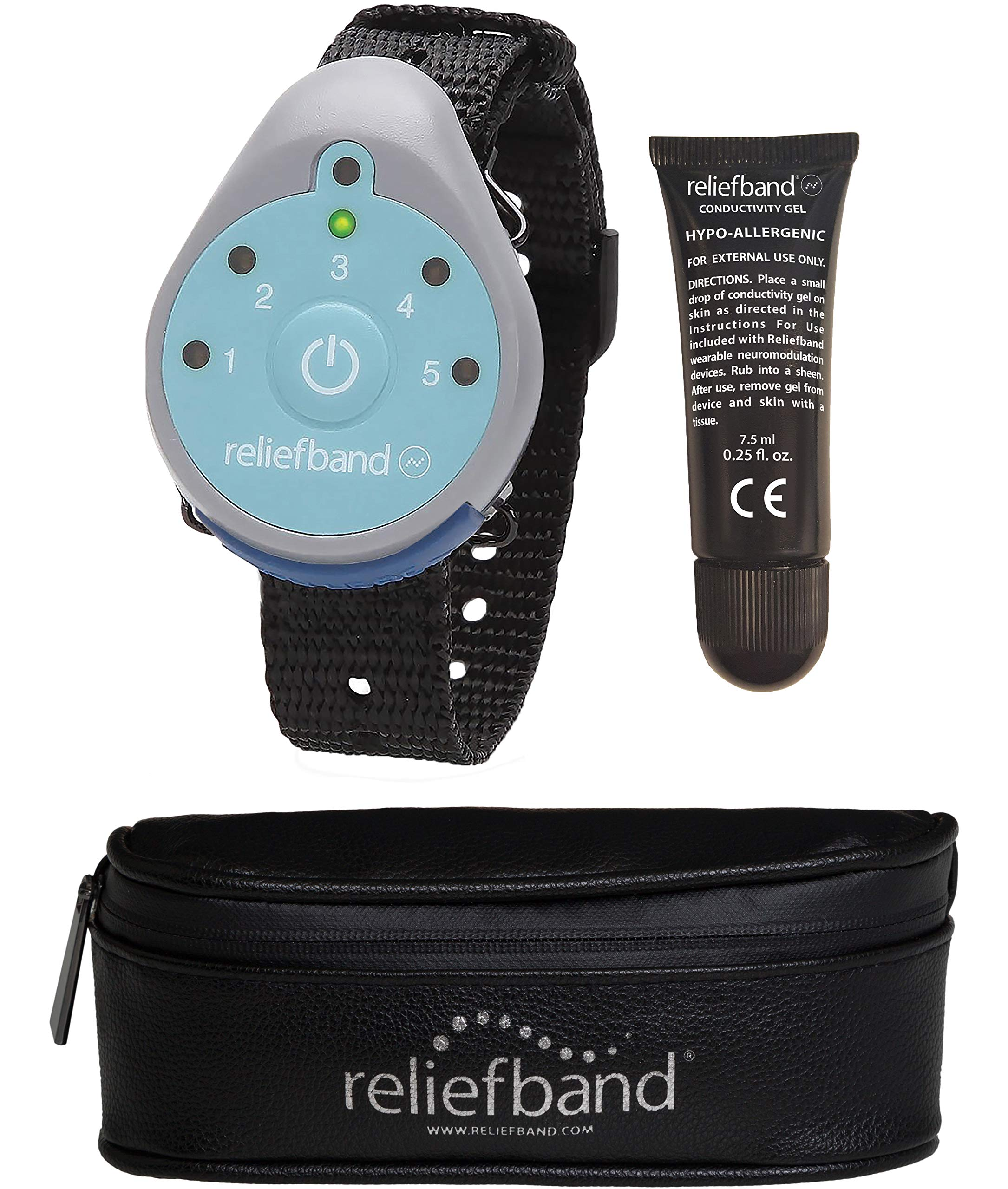 Reliefband 1.5 Motion Sickness Wristband w/ 1 Gel Tube and Carrying Pouch - Easy-to-Use, Fast, Drug-Free Nausea Relief Band Helps w/Morning Sickness, Nausea, Sea Sickness, Retching, Vomiting by Reliefband