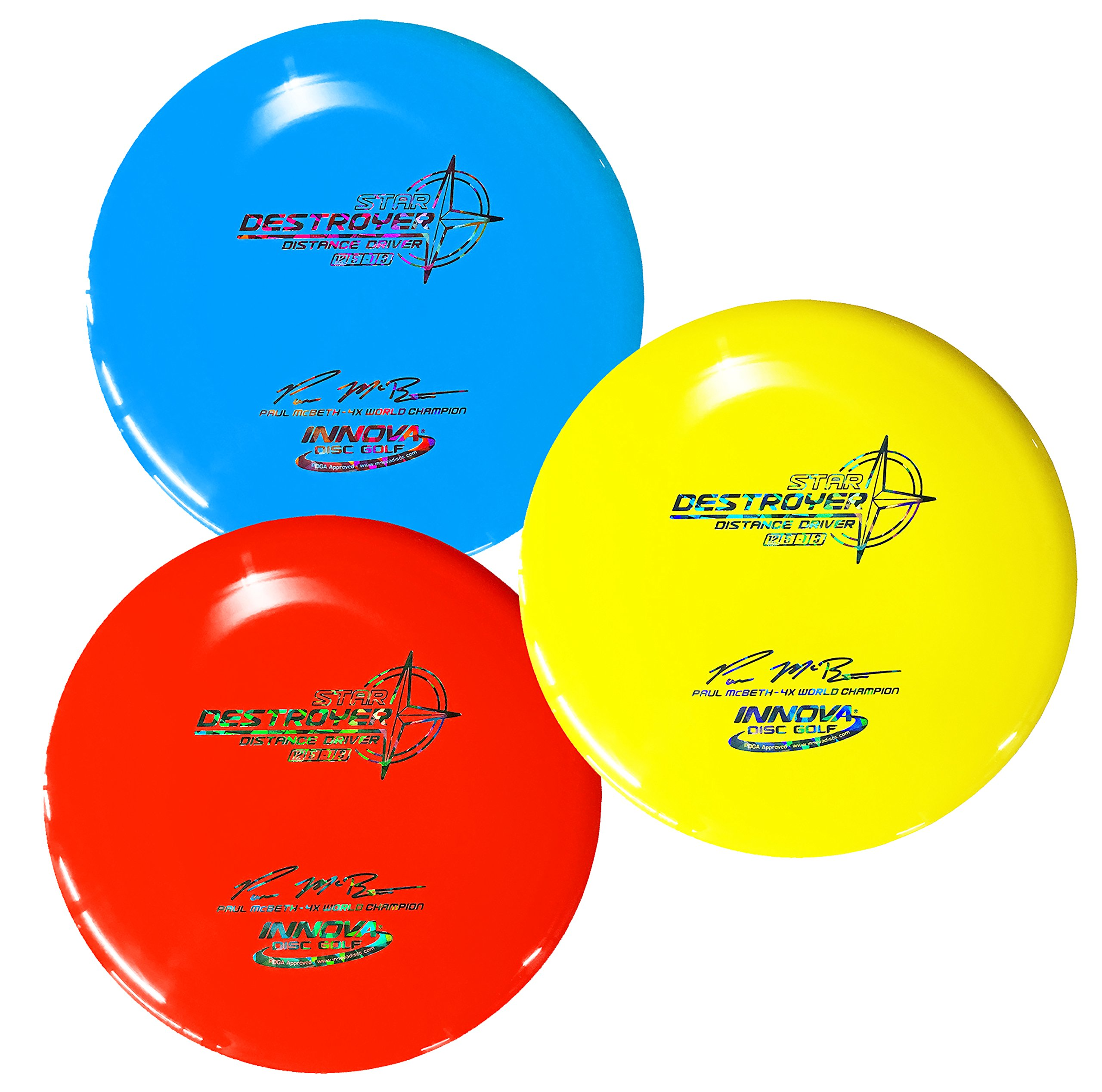 Innova Star Destroyer Disc Golf Paul McBeth 4X World Champion Distance Driver Pack of 3 (173-175g)