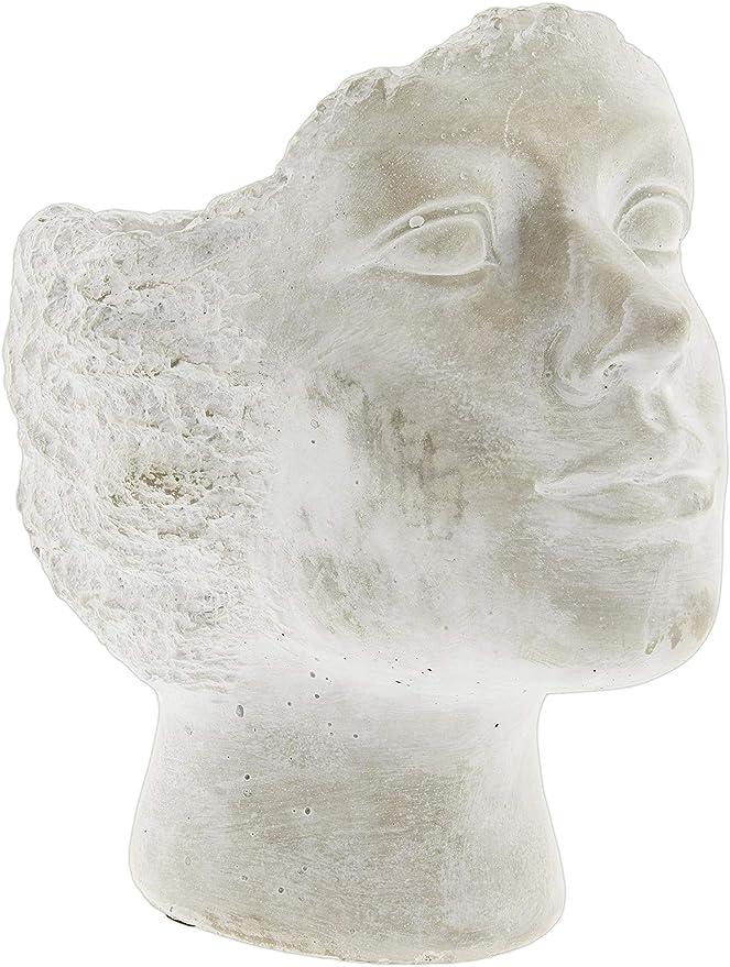 Whitewashed Cement Stone Statue Head Planter 9 5 Kitchen Dining Amazon Com