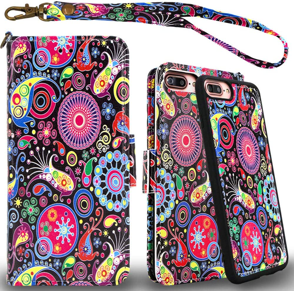 Mefon Detachable Leather Wallet Case, with Tempered Glass and Wrist Strap, Enhanced Magnetic Closure, Durable Slim, Luxury Flip Folio Cases for Apple iPhone 8/7 Plus, 6S / 6 Plus (Paisley 2)