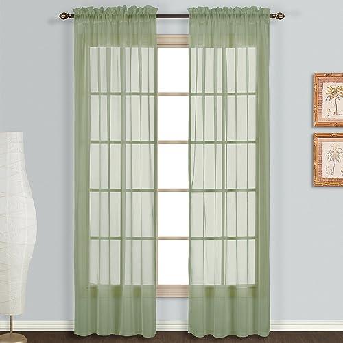 United Curtain Monte Carlo Window Panels, 118 X 95 Inch, Sage