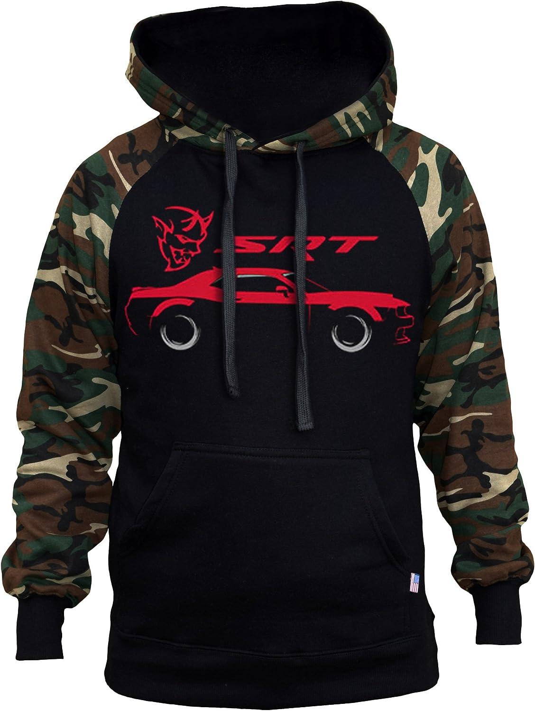New Men/'s Dodge Challenger Demon SRT Camo//Black Raglan Hoodie Sweater Muscle Car