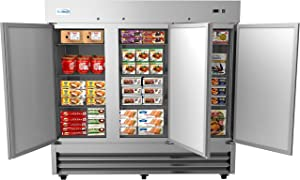 "KoolMore 82"" 3 Door Stainless Steel Upright Commercial Reach-in Freezer - 72 cu. ft, Model:RIF-3D-SS"