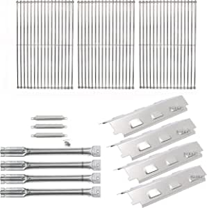 Bar.B.Q.S Gas Barbecue Grill Designer Series Replacement SS Carryover Tubes, SS Burners, SS Heat Plates, & SS Cooking Grates For Charbroil 463460708 ,463420507,463420509,463460710 Gas Grill Models
