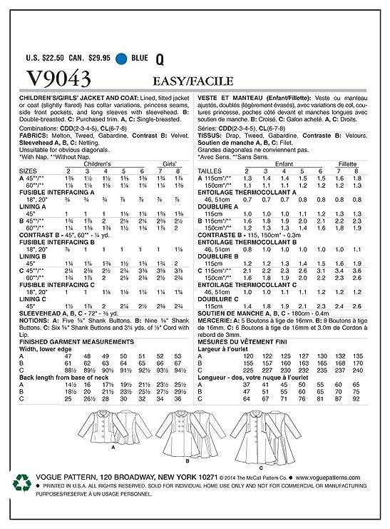 The McCall pattern Company 9043 CDD tamaños 2-3 - 4-5 para ...